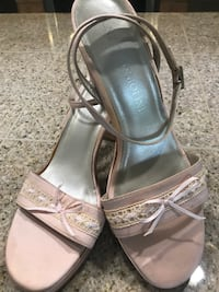 Pair of pink/champagne leather open-toe sandals Sterling, 20165