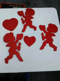 5 PC Wooden cupids and hearts decorations