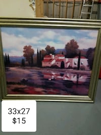 painting of house with brown wooden frame Markham, L3S 4G2