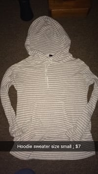 size small gray and white stripe pullover hoodie Colfax, 46035