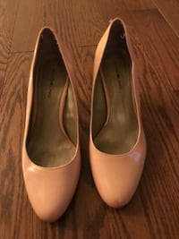 pair of beige leather pointed-toe heeled shoes Bedford, B4A 2H5