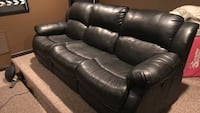 Black faux leather double recliner sofa Exeter, 18643