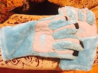 white-and-teal fur The North Face gloves