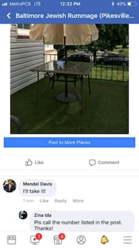 black and gray metal framed patio table screenshot Baltimore, 21215