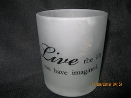"NEW - GIFTABLE *** Mark in photo not visible to the eye *** 4"" H x 3-1/2"" Diam. Inspirational Candle Holder"