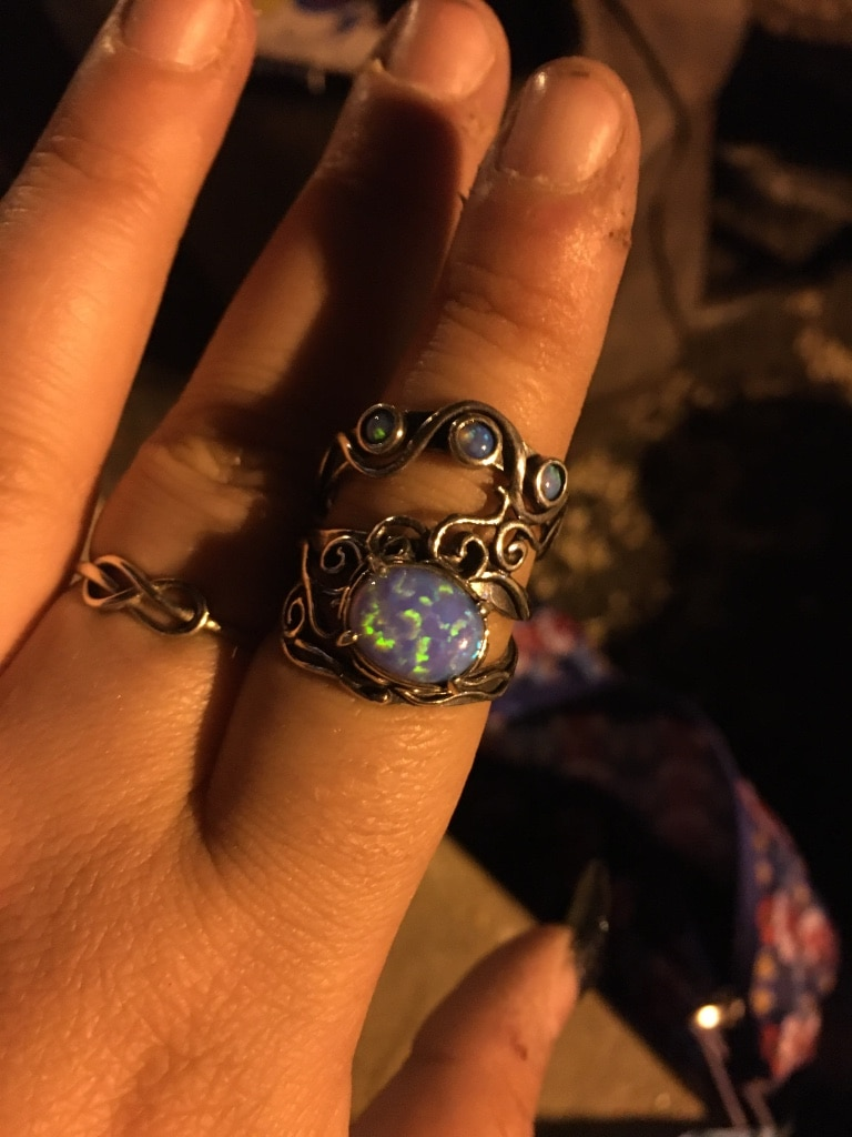 Photo Blue opal ring sterling Silver