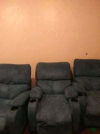 two gray suede recliner chairs Littleton, 80123