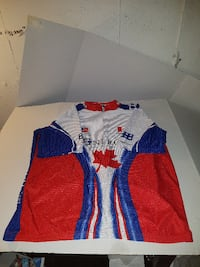 blue, white, and red Canada cycling jersey London