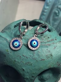 Greek Eye Rhodium Plated Earrings