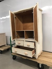 White wicker and wood cabinet with two drawers