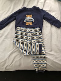 toddler's blue crew-neck sweatshirt and multicolored stripe pants