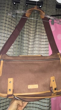 BODHI MILITARY LAPTOP MESSENGER BAG brown canvas with leather trim