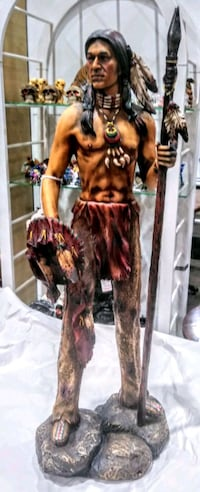 Indian Warrior With Spear Statue