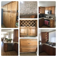 Brown wooden full kitchen with granite top Los Angeles, 91042