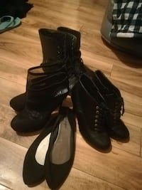 pair of black leather open-toe heeled sandals Edmonton, T5X