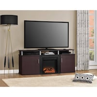 "Ameriwood Home Carson Electric Fireplace TV Console for TVs up to 70"", Cherry/Black , SKU # 57252 Santa Fe Springs"