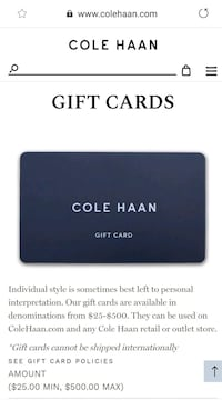 $231.88 Cole Haan Gift Card.