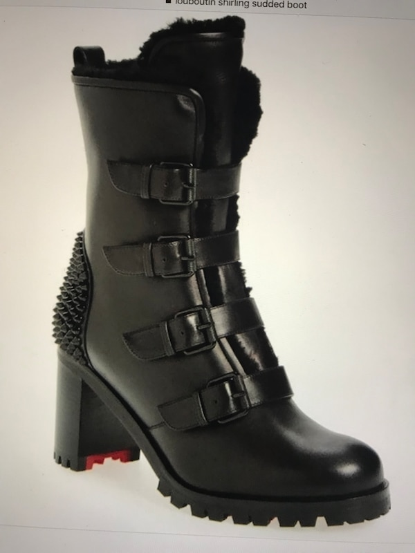 8c5c347edd0 Christian Louboutin Glorymount Black Leather/Sherling Boots NEW
