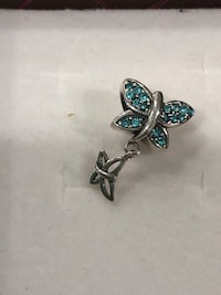 Sterling silver/ blue CZ butterfly dangle bracelet charm Keswick, L4P 3P2