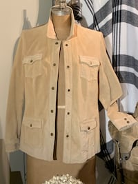 Light tan genuine suede jacket size L Wilmot, N3A