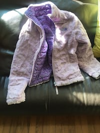 Reversible North Face purple print with lavender fur jacket Rockville, 20850