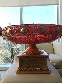 red ceramic footed bowl