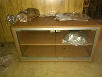 brown wooden framed glass display cabinet 690 mi