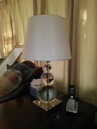clear glass table lamp base with white lamp shade Severna Park, 21146