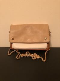 Beige, white, brown side body purse with a gold chain strap Toronto