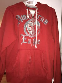 red and white Aeropostale zip-up hoodie