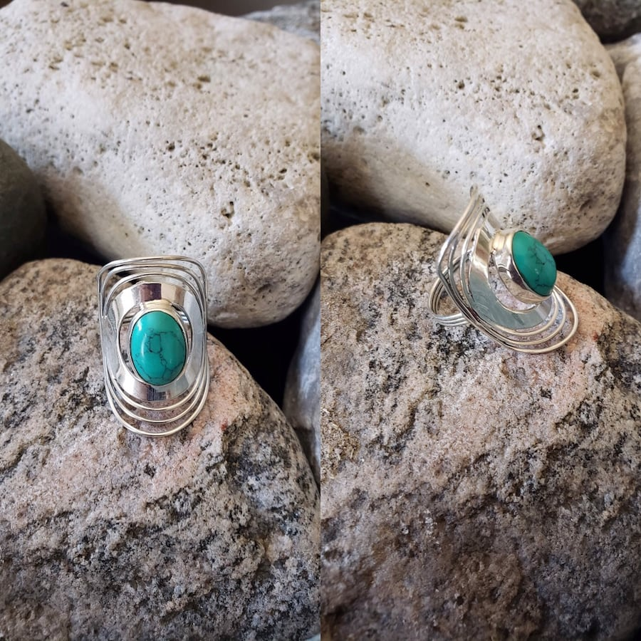 925 Sterling Silver Natural Turquoise Ring!   Size 8.5