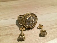 Gold /diamond ring and ear ring set Utica