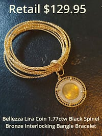 Bellezza Lira Coin 1.77ctw Black Spinel Bronze Bangle Bracelet Glenarden