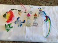 Spun glass parrot,frog,crab,flowers, humming bird with flower, 2 glass Hershey kisses West Islip, 11795
