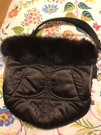 Coach quilted purse with fur trim and suede. Brown Wellesley