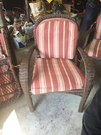 brown wooden framed red and white striped padded armchair Livonia, 48152