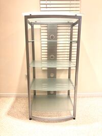 5-Tier Power Coated Metal Tempered Glass Shelf