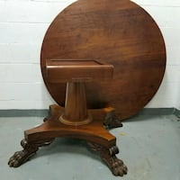 Vintage Claw Foot Wood Round Table  Toronto