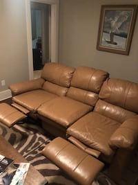 Full leather tan recliner sofa  Nashville, 37209