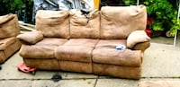 brown suede 3-seat sofa Sterling Heights, 48313