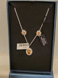 Topaz and Zirconia necklace & earrings, platinum over sterling silver Boston, 02120