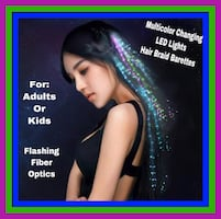 6 for $20 Multicolor Changing LED FlashingFiber Optic HairBraid Clips