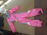 gray and pink retro overall ladies snowsuit Vernon, V1T