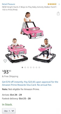 Bright Starts 3 Ways to Play Baby Activity Walker Ford F-150 in Pink  Accokeek