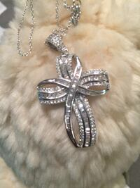 Rhodium Plated Cross Pendant With Chain Necklace