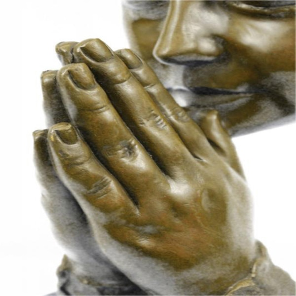 Amen Pray Bronze Sculpture on Marble Base Statue (13X9 Inches) 7