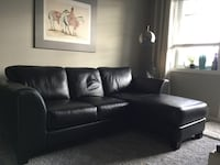 New Black Leather Sofa/Chaise 3114 km