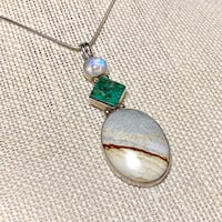 Vintage Sterling Silver Moonstone Malachite Agate Pendant with Sterling Rope Chain