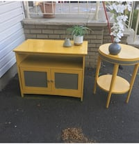 Mustard yellow and grey  TV stand w/ matching side table. Newark, 07112