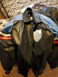 black and blue leather zip-up jacket Toronto, M6N 2B6